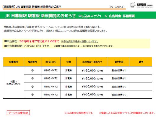 【計画開発】JR日暮里駅 新設駅看板のご案内(1)
