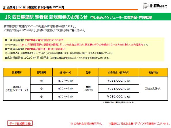 【計画開発】JR 西日暮里駅 新設駅看板のご案内(1)