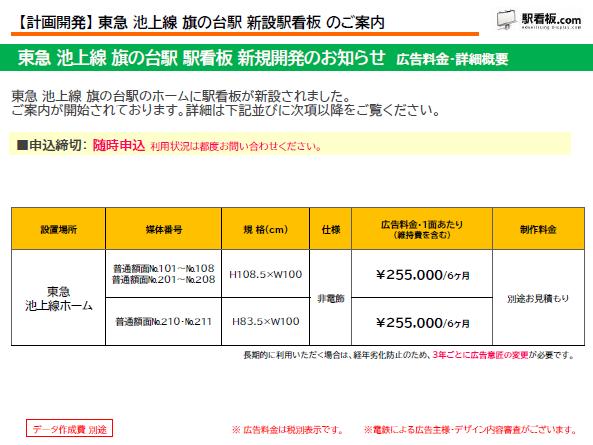 【計画開発】東急池上線 旗の台駅 新設駅看板のご案内 (1)