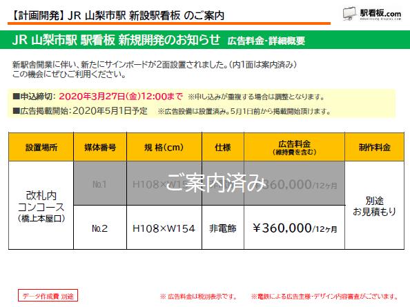 【計画開発】 JR 山梨市駅 新設駅看板のご案内 (1)